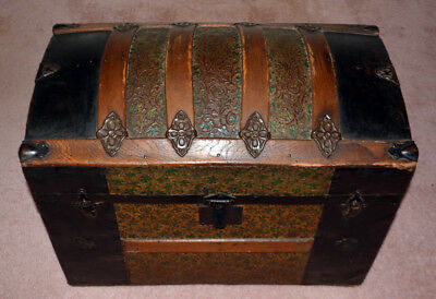 Antique Victorian Round-Top Steamer Trunk
