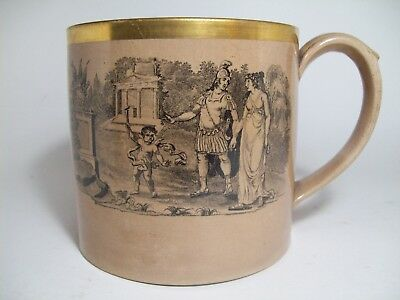 Vintage Antique Ceramic Porcelain Coffee Can Mug Cup w/Greek Roman Scene