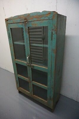 Vintage Wooden & Glass Turquoise China Cabinet