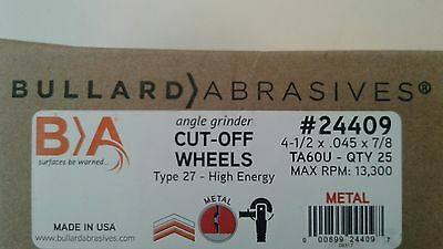 25 Bullard Abrasives 24409 4-1/2 x .045 x 7/8 Depressed Center Cut Off Wheel ZIP