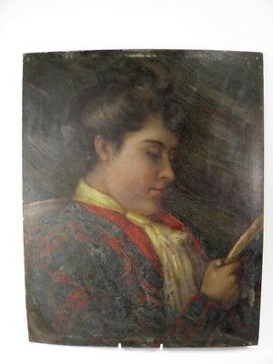 Antique 19th century Continental oil painting on panel portrait lady reading