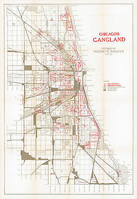 1927 Gangster Map Chicago's Gangland 1,313 Gangs in Chicago Poster Print History