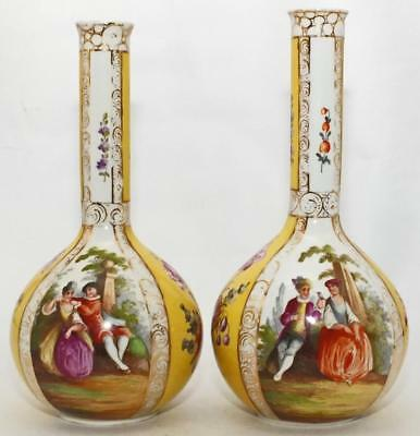 SUPERB LARGE ANTIQUE PAIR DRESDEN GILDED WATTEAU VASES  13 inches (33cm)