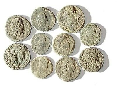10 ANCIENT ROMAN COINS AE3 - Uncleaned and As Found! - Unique Lot 25934