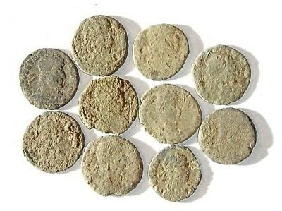 10 ANCIENT ROMAN COINS AE3 - Uncleaned and As Found! - Unique Lot 25916