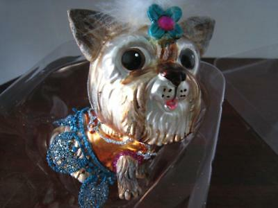 Frou-Frou Girl YORKSHIRE TERRIER Glass Christmas Ornament w/Box Pet Dog Lovers