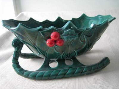 1950's LEFTON GREEN CERAMIC Christmas SLED/SLEIGH 1346 Candy Dish made in Japan