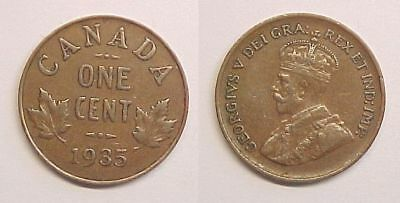1935 Cent Canadian Canada George V Very Fine VF