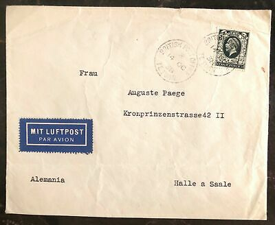 1938 Tetuan Morocco British Agencies Airmail cover To Halle Germany