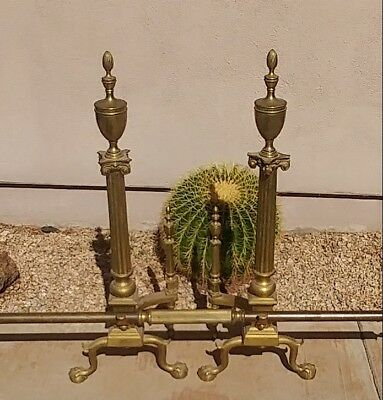 Large Antique Ornate Victorian Solid Bronze Fireplace Andirons