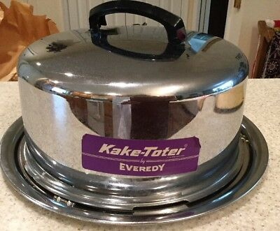 """Vintage Everedy Kake Toter Chrome Cake Carrier 13"""" w/Locking Cover Handle"""