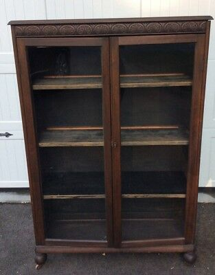 Antique Mahogany Bookcase With Leaded Beveled Glass Doors