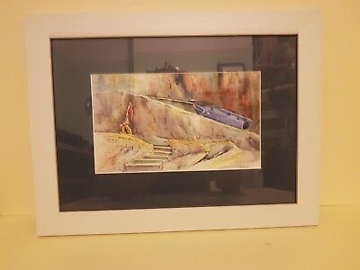 Original Framed watercolour painting called Blue Boat by Jacquie Perkins