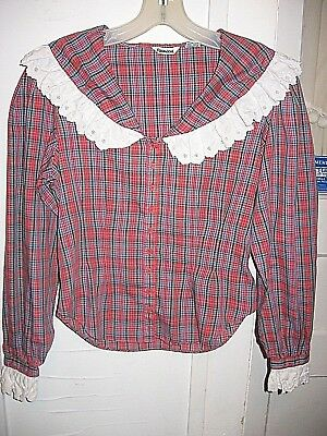 Vintage 1980 Foxmoor Red/blue/green/black Cotton Plaid Blouse Eyelet Lace - S