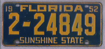 1952 FLORIDA License Plate 2-24849