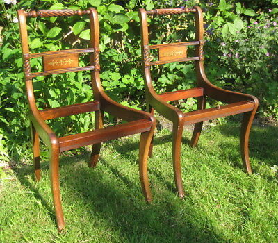 4x Antique Regency Style Brass Inlaid Rope Back Sabre Leg Mahogany Dining Chairs