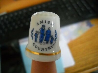 Amish Country Porcelain Thimble With Amish Family Gold Trim