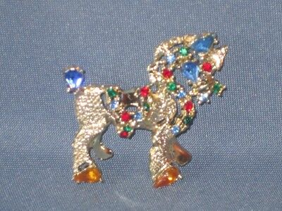 Vintage Signed DODDS Gold-Tone Metal Multicolor Rhinestone Horse Pin Brooch