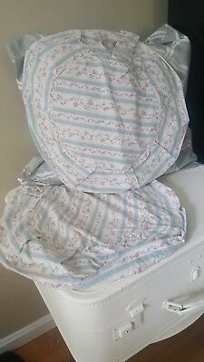 2 Vintage Blue Pink Ticking Stripe Petite Rose Floral Cottage Chic Pillow Covers