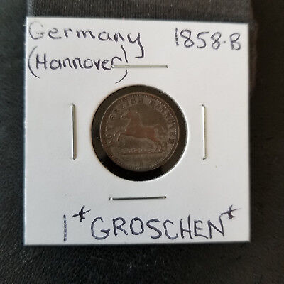 Germany-(Hannover) 1858-B  *ONE GROSCHEN* (Silver)    Rare Key Date!!
