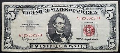 1963 Series $5 Five Dollar Legal Tender Red Seal United States Note Free Shippi