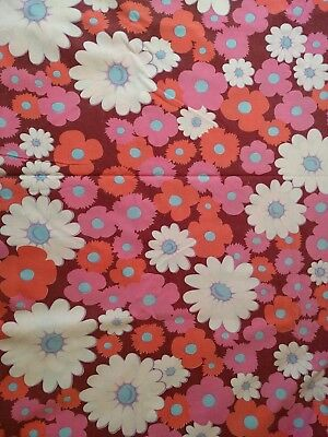 Vintage Cotton Sheet Fabric Pink Retro Flowers