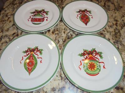 "4 Christopher Radko Holiday Celebrations 6"" canape plates mint in box low shpng"