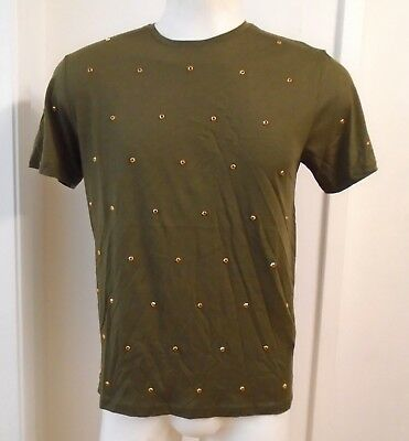 900aded4d0125f New ZARA MAN Dark Olive Green Unique T-shirt with Gold Studs Short Sleeve  Crew