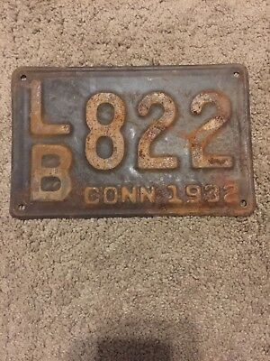 Great Set of Vintage 1932 Connecticut License Plate