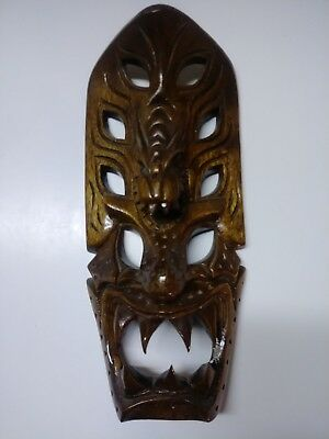 Wooden Dragon Mask hand carved Philippines.  Wall hanging display