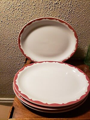 Lot of 2 Mayer China Restaurant Ware Oval Dinner Plates #356 Salmon, Pink Crest