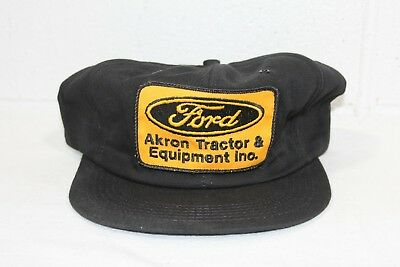 Vintage Black Ford Akron Tractor Patch Trucker Hat Cap Snapback K BRAND USA