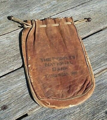 Antique Leather Bank Gold Dust Money Bag with Tie off, 1800's Peoples Natl Bank