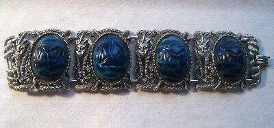 Vintage Silver Tone Egyptian Lucite Turquoise Scarab Pharaoh Link Bracelet