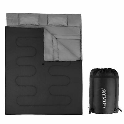 Double 2 Person Sleeping Bag Waterproof w/ 2 Pillows Camping Queen Size XL