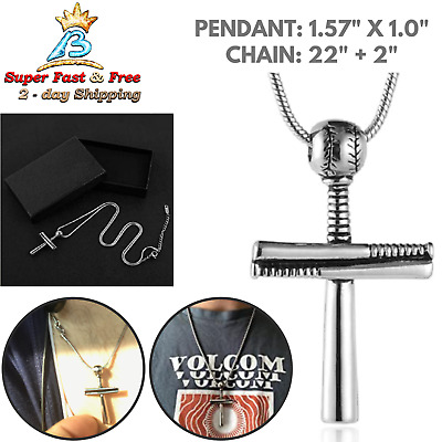 Baseball Bat Cross Pendant Necklace Stainless Steel Design Necklace Gold Plated