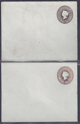 BARBADOS 1890's TWO POSTAL COVER 1/2 d SURCHARGE ON QUEEN VICTORIA ONE PENNY