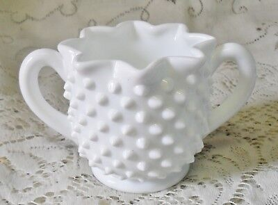 Vintage Fenton Hobnail Milk Glass Fluted Double Handled Vase Bowl
