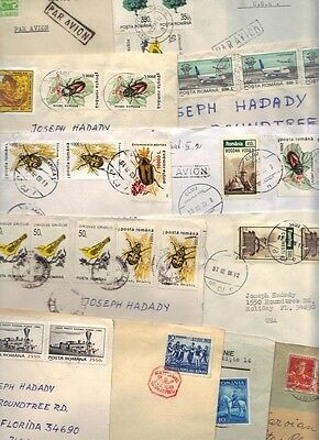 ROMANIA 1940-80's COLLECTION OF 14 COVERS ALL TO U.s. VARIOUS FRANKINGS