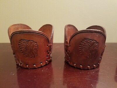 Set Vintage Western Native American Indian Leather LacedGlass Cup Holder Koozie