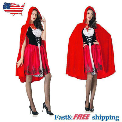 Adult Little Red Riding Hood Womens Halloween Casual Costume Party Fancy Dress