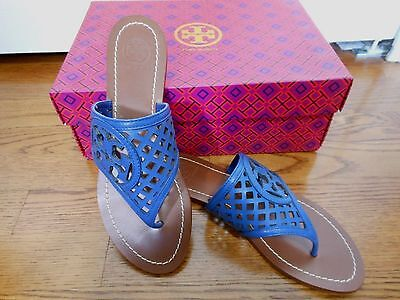 1b49b9443 TORY BURCH LOUISA RARE Navy Blue leather logo thong sandals SZ 6.5 ...