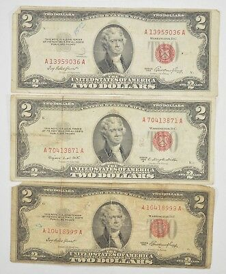 Lot (3) Red Seal $2.00 US 1953 or 1963 Notes - Currency Collection *299