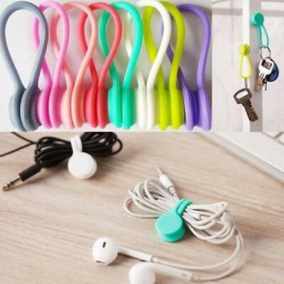4x Multiuse Silicone Magnet Earphone Cord Winder Wrap Cable Holder Organizer USs