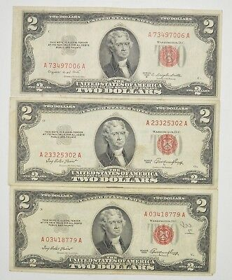 Lot (3) Red Seal $2.00 US 1953 or 1963 Notes - Currency Collection *264