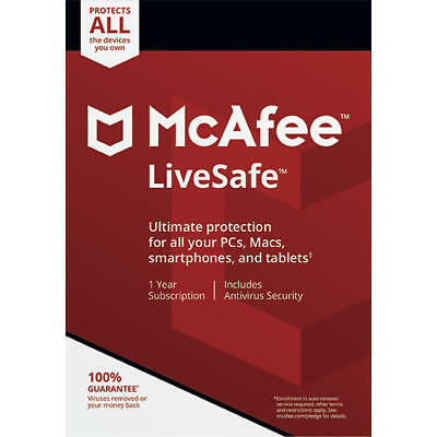 McAfee LiveSafe Free Upgrade to 2019 Download 1 Year Unlimited Devices NEW