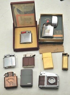 Lot of Nine Vintage PARTS Lighters - Ronson Maximus, Zippo, Aurora, Camel