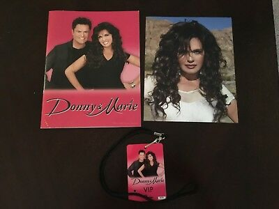 Donny & Marie Las Vegas Show Program, Vip Pass W/lanyard, & Marie Glossy Picture
