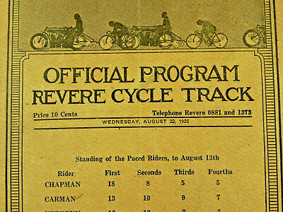 Vintage 1923 REVERE MA CYCLE TRACK motorcycle race bicycle program Pro Amateur