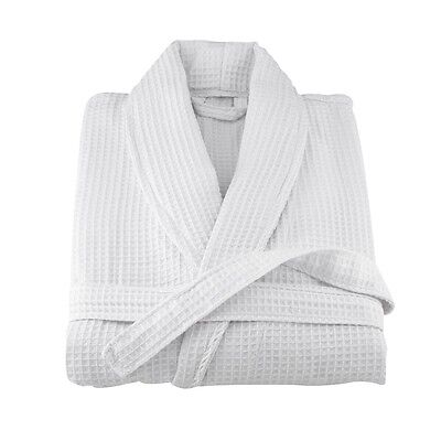 Brand New White Cotton One Size Soft Men And Women Kimono Waffle Bath Robe